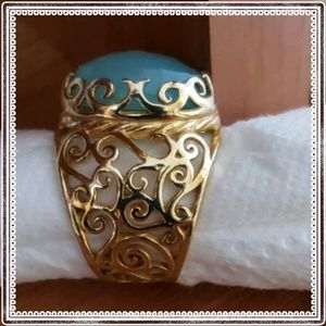Jewelry - Scroll design 14K gold over sterling silver ring
